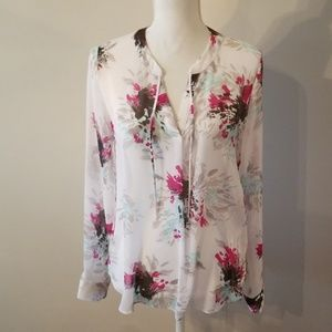 Banana republic White Floral Blouse